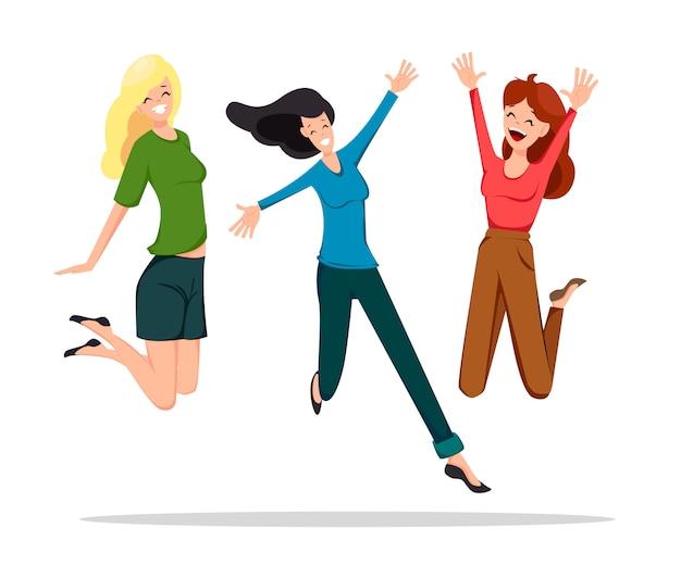 Três, alegre, amigos, pular, alto Vetor Premium