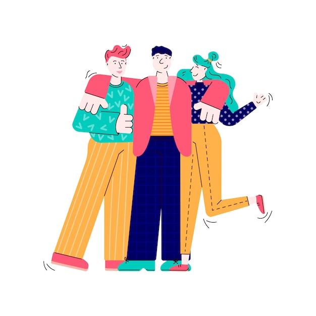 Tres Amigos Abracando Pessoas Dos Desenhos Animados Juntos