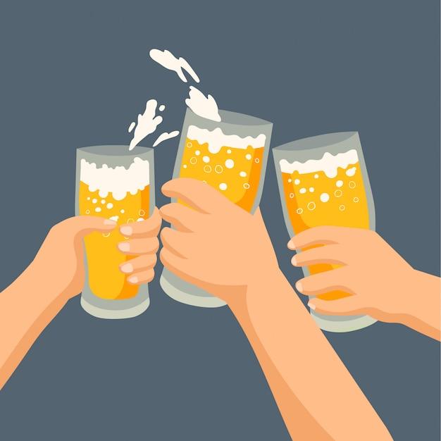 Três amigos bebendo cerveja Vetor Premium