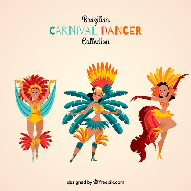 Três bailarinas de carnaval brasileiras Vetor grátis