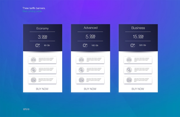 Três bandeiras de tarifas. tabela de preços da web. desenho vetorial para web app. lista de preços. Vetor Premium
