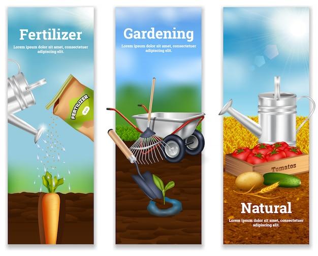 Três bandeiras verticais de agricultura Vetor grátis