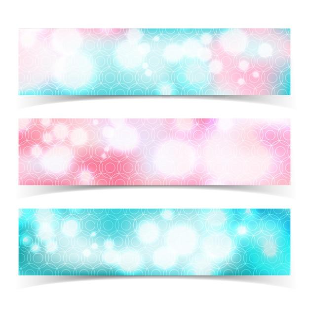 Três banners abstratos horizontais multicoloridos isolados com efeito bokeh brilho Vetor grátis