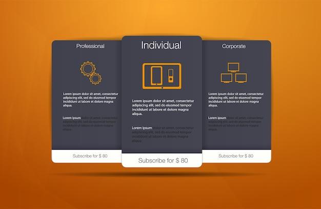 Três banners de tarifas. tabela de preços da web. design para aplicativo da web. lista de preços. Vetor Premium