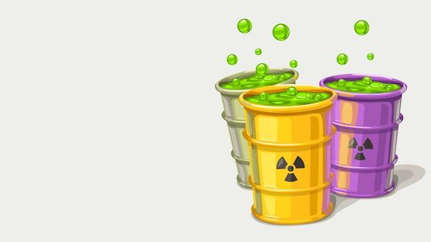Três barris com resíduos tóxicos Vetor Premium