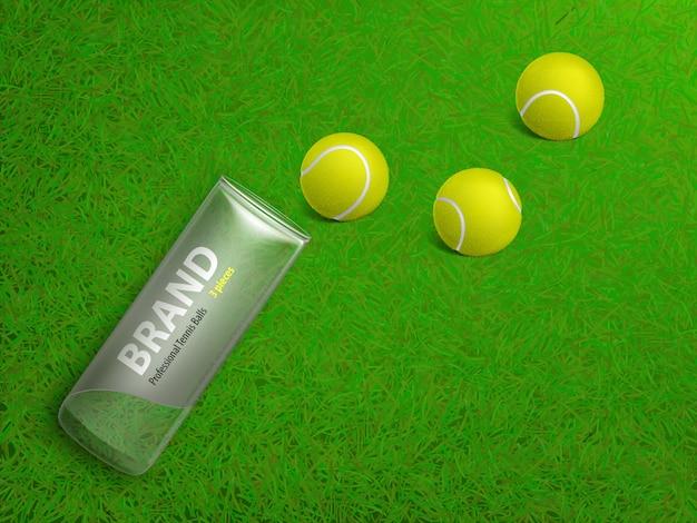Três, bolas de tênis, e, marcado, plástico, caso, mentindo, ligado, corte, gramado, grama verde Vetor grátis
