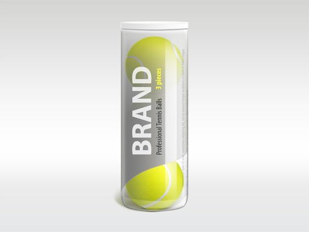 Três bolas de tênis em tubo de plástico transparente brilhante de marca Vetor grátis