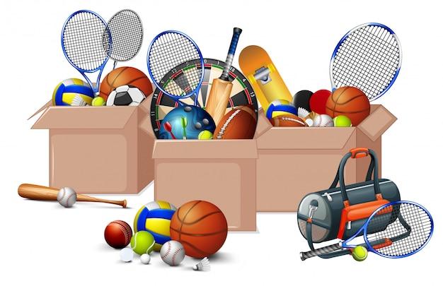 Três caixas cheias de equipamentos de esporte em fundo branco Vetor grátis