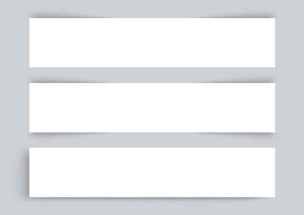 Três cartões de visita em fundo cinza Vetor Premium