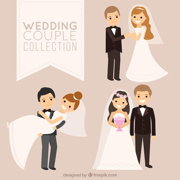 Três casais de noivos sorridentes Vetor grátis