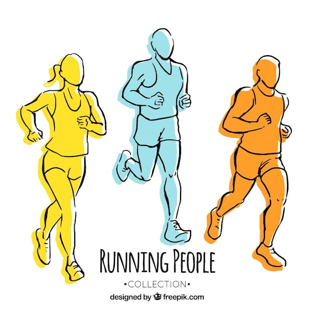 Três, colorido, mão, desenhado, corredores Vetor grátis