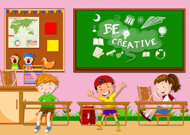 Três crianças, aprendizagem, em, sala aula Vetor grátis