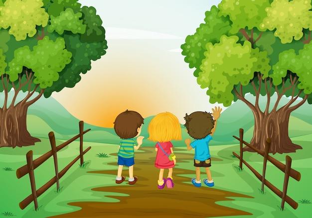 Três crianças, observar, a, pôr do sol Vetor grátis