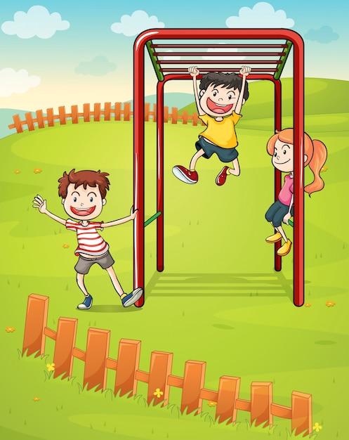 Três crianças, tocando, parque Vetor grátis
