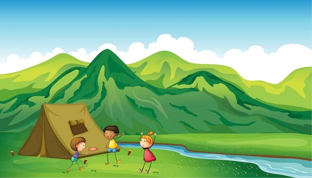 Três crianças, tocando Vetor grátis