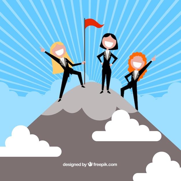 Três empresária feliz no topo Vetor grátis