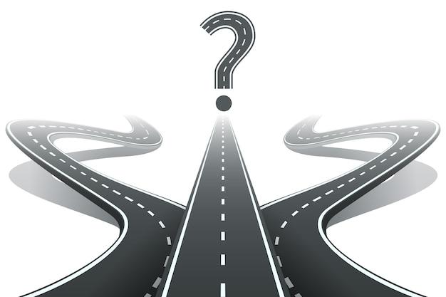 Três estradas e ponto de interrogação. Vetor grátis