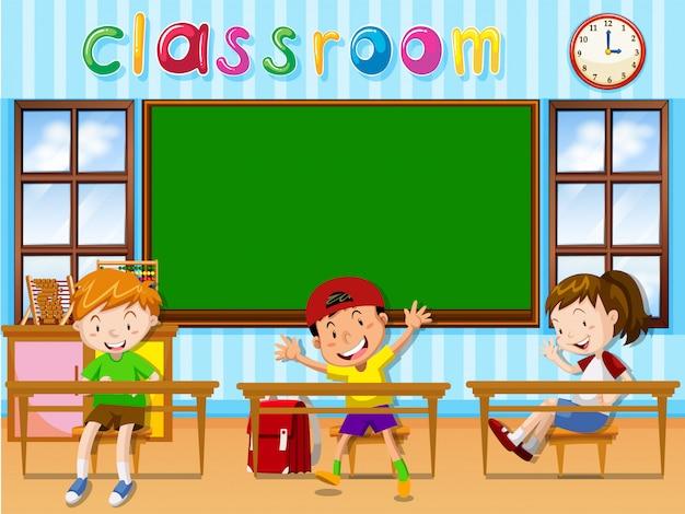 Três, estudantes, em, sala aula Vetor grátis