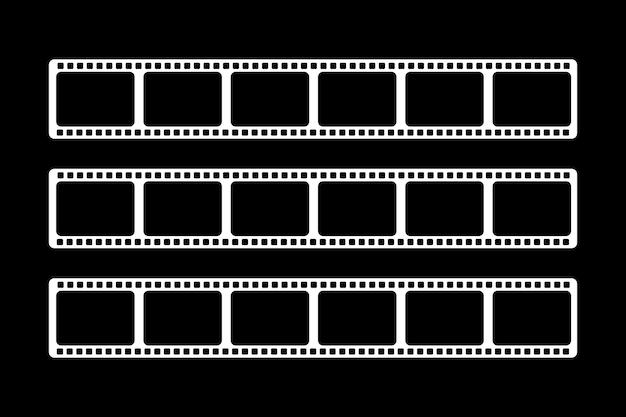 Três filmes de vídeo brancos de tamanhos diferentes são mostrados Vetor Premium