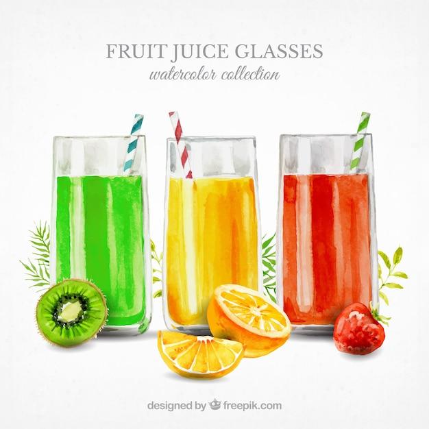 Três, fruta, sucos, aquarela, estilo Vetor grátis