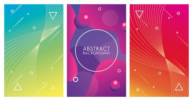 Três fundos abstratos coloridos geométricos Vetor Premium