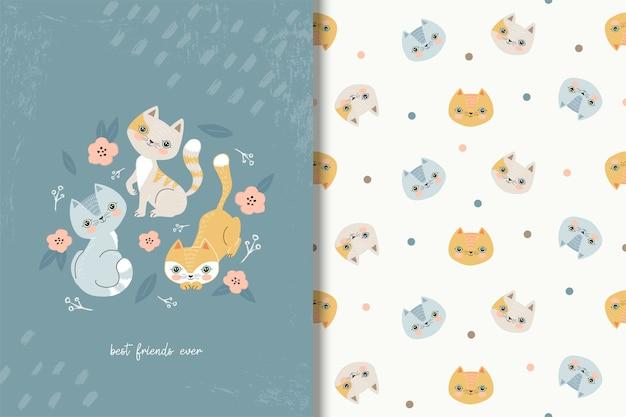 Três gatos bonitos dos desenhos animados que jogam no bruto. Vetor Premium