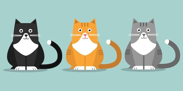 Três gatos fofos Vetor Premium