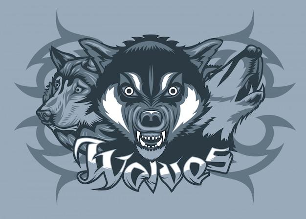 Três lobos atacando Vetor Premium