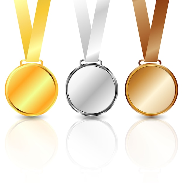 Três medalhões de metal: ouro, prata e bronze. Vetor Premium