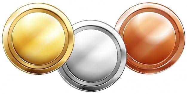 Três moedas brilhantes em branco Vetor grátis