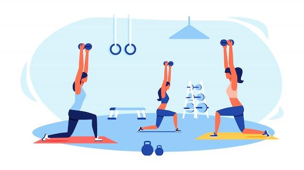 Três mulheres, em, tracksuits, fazendo, exercícios, em, ginásio Vetor Premium