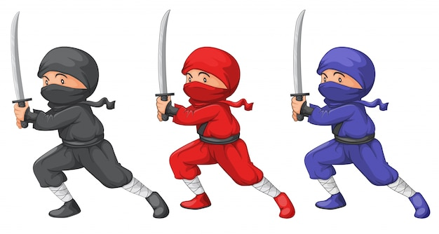 Três ninjas Vetor grátis