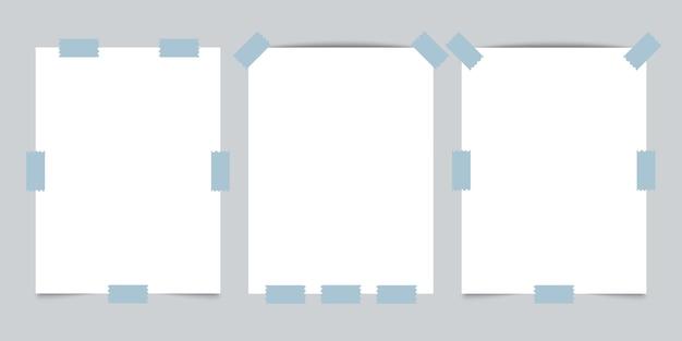 Três papéis vazios com fita adesiva em fundo cinza. Vetor Premium
