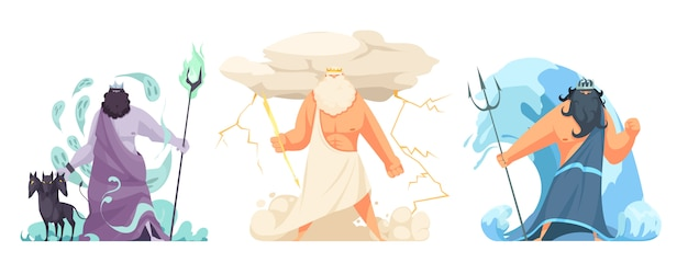 Três poderosos deuses gregos antigos deuses conjunto horizontal com hades zeus e poseidon cartoon isolado Vetor grátis