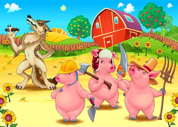 Três Porquinhos E Lobo Mau Desenho Vetorial Ilustração