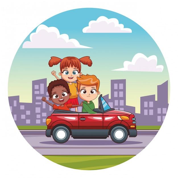 Três, sorrindo, crianças, dirigindo carro Vetor Premium