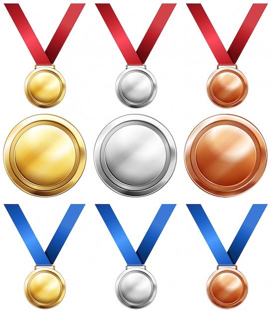 Três tipos de medalhas com fita vermelha e azul Vetor grátis