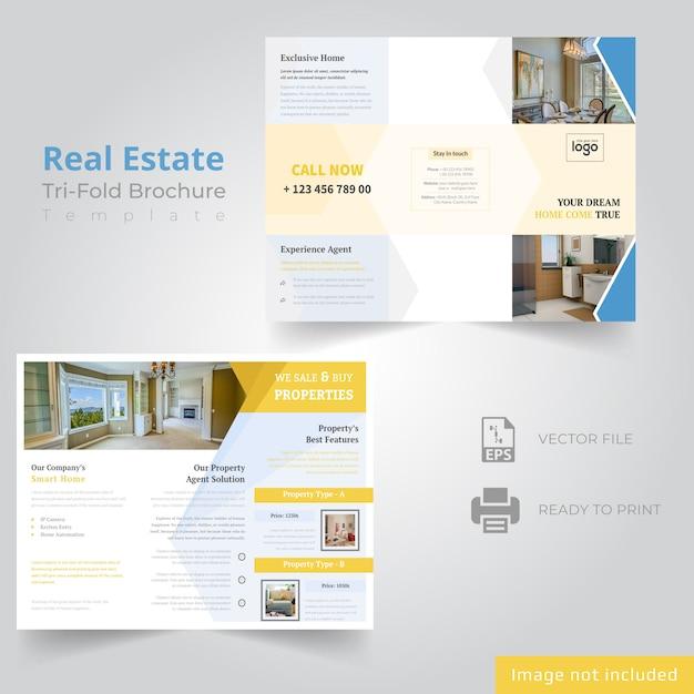Tri fold design brochura para empresa imobiliária Vetor Premium