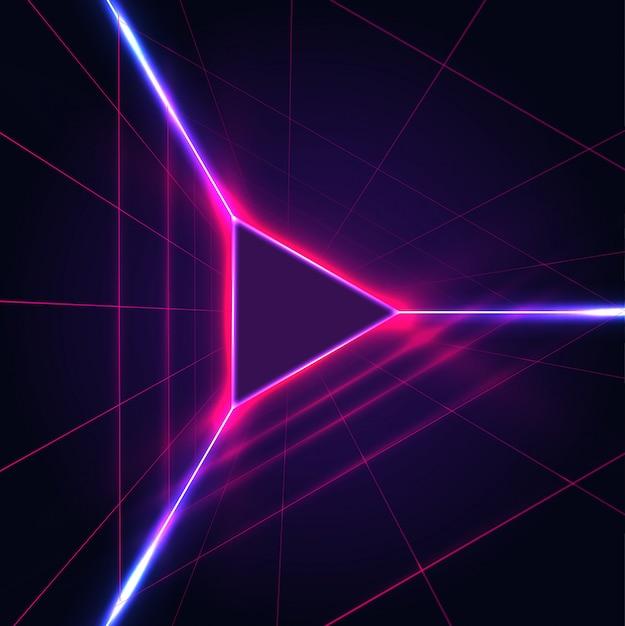 Triângulo brilhante de néon abstrato jogar ícone cadastre-se no fundo roxo escuro com grade do laser. Vetor Premium
