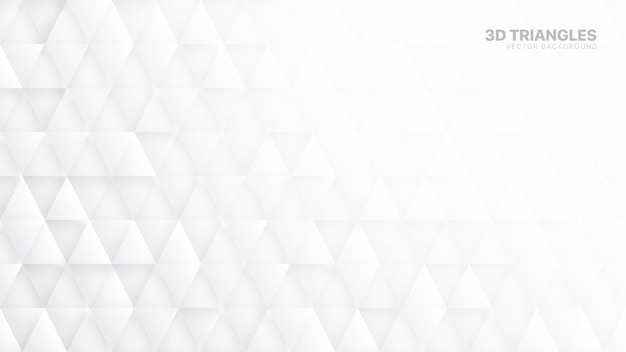 Triângulos 3d abstrato branco Vetor Premium