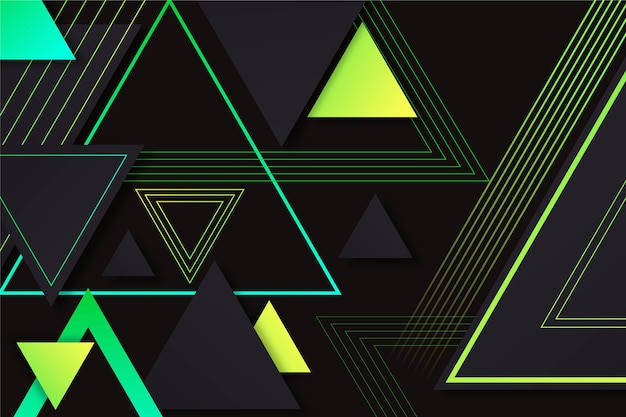 Triângulos gradientes em fundo escuro Vetor Premium