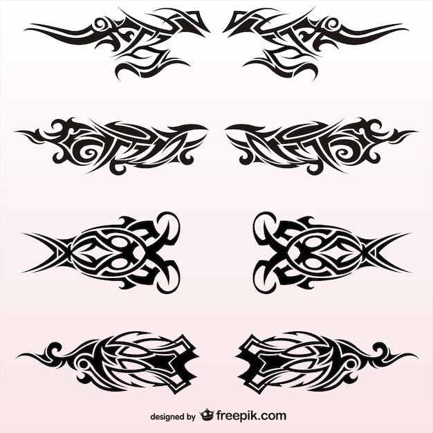 Tribal conjunto tatuagens desenho vetorial Vetor grátis