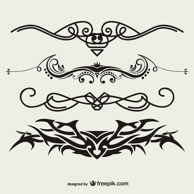 Tribal conjunto tatuagens vetor Vetor grátis
