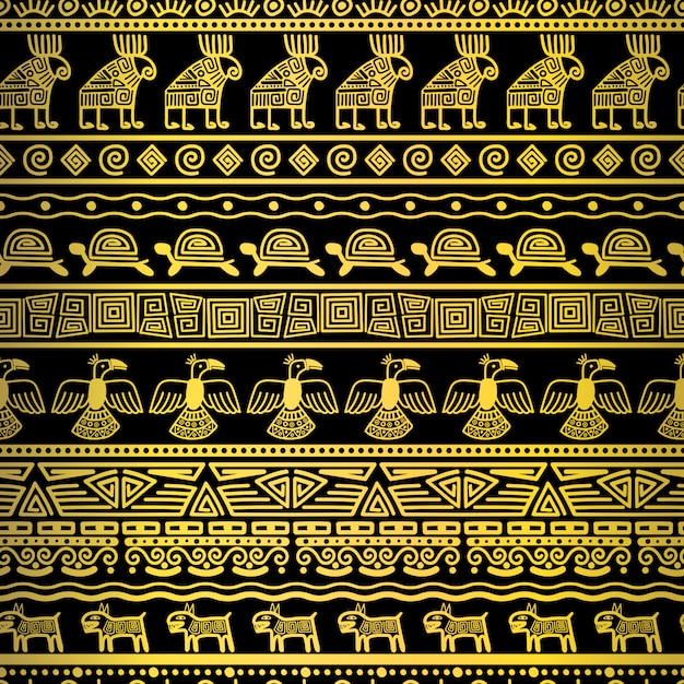 Tribal gold seamless pattern with mexican texture Vetor Premium