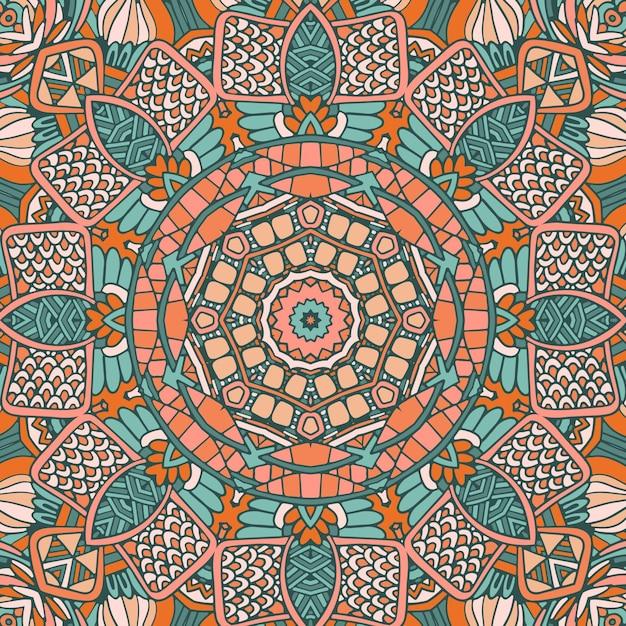 Tribal vintage abstrato geométrico étnico padrão sem emenda ornamental. mandala selvagem africana Vetor Premium