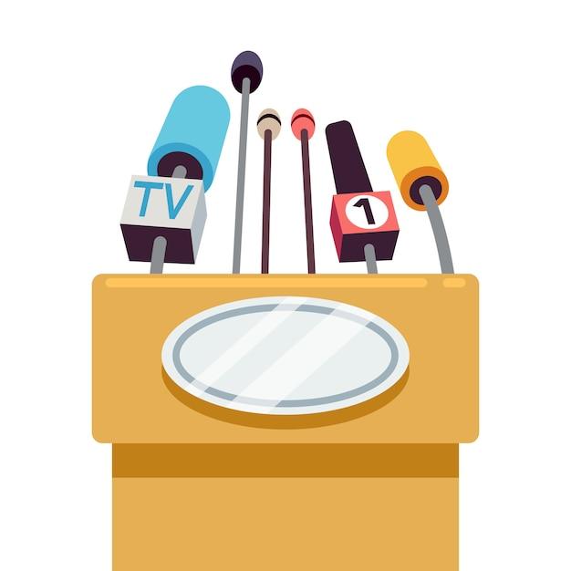 Tribuna com microfones para conferência e discurso para o público. Vetor Premium