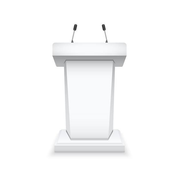 Tribuna pódio branco com microfones Vetor Premium