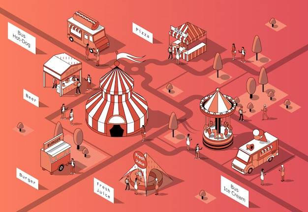 Tribunais de comida isométrica 3D, festival - mercado Vetor grátis