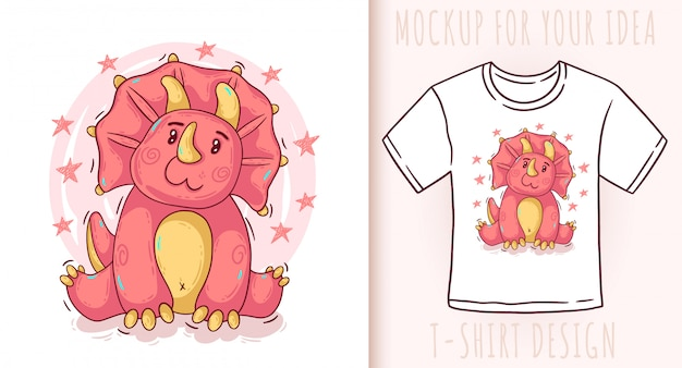 Triceratops de dinossauro bebê fofo dos desenhos animados. Vetor Premium