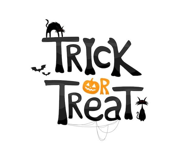 Trick or treat texto com gatos e elementos tradicionais. Vetor Premium